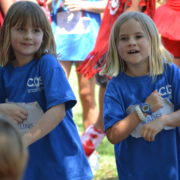 blue team girls dance at field day