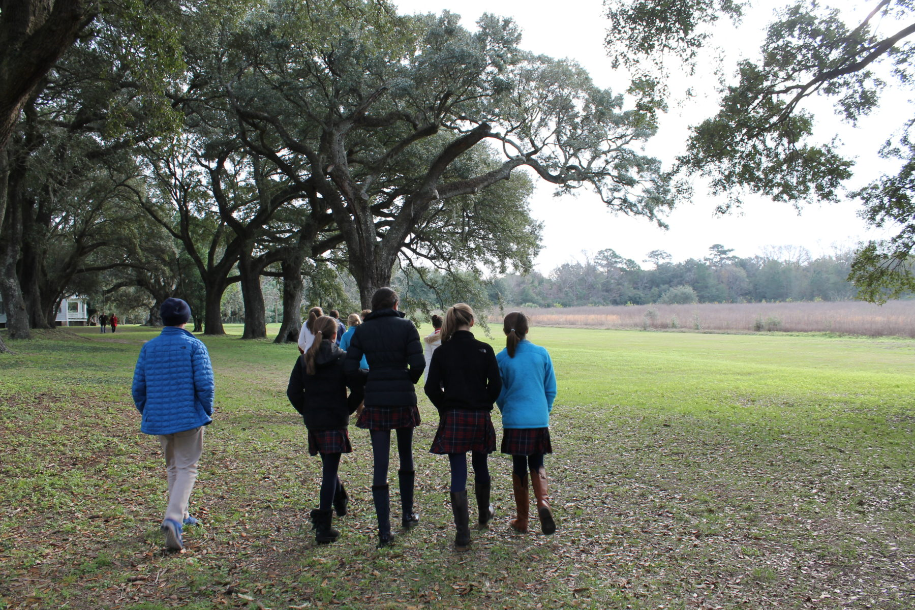 students walking cold day on field trip
