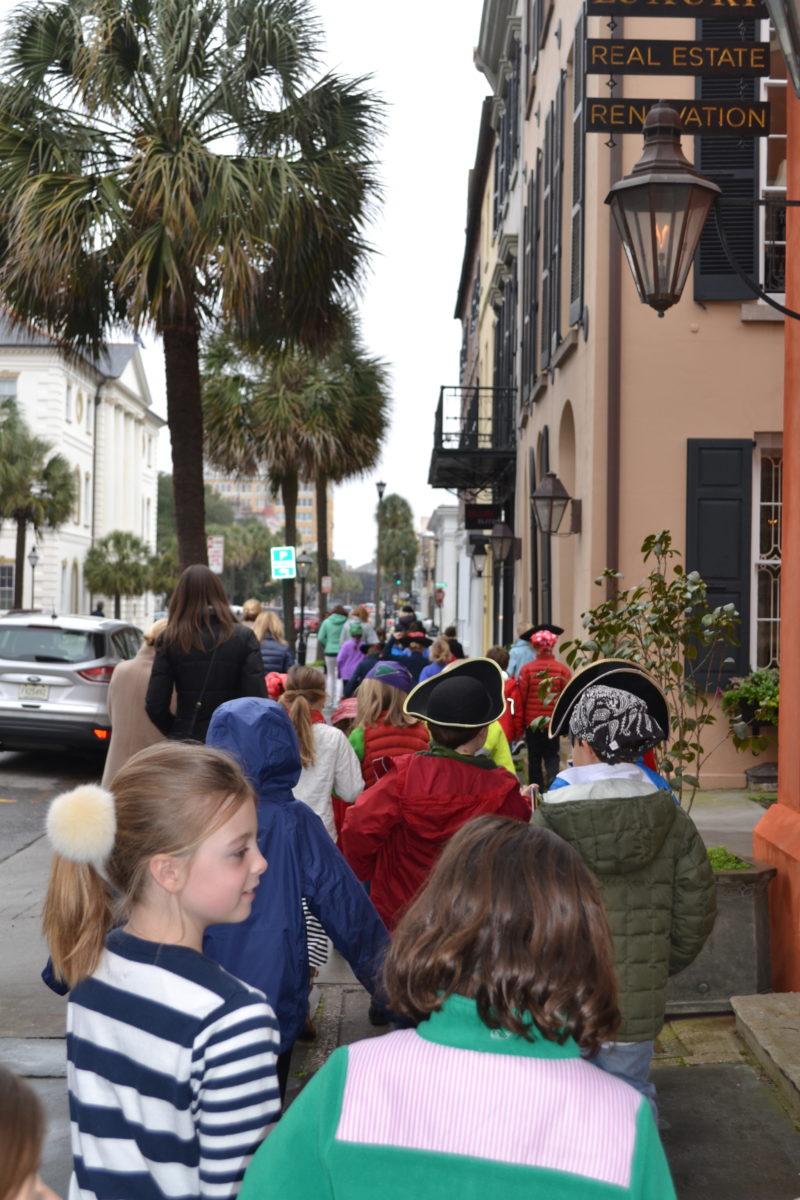 class trip downtown sidewalk