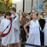 students perform bebop aesop outside
