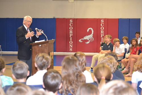 mayor riley addresses students at mission possible assembly
