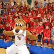 mascot clyde at pep rally