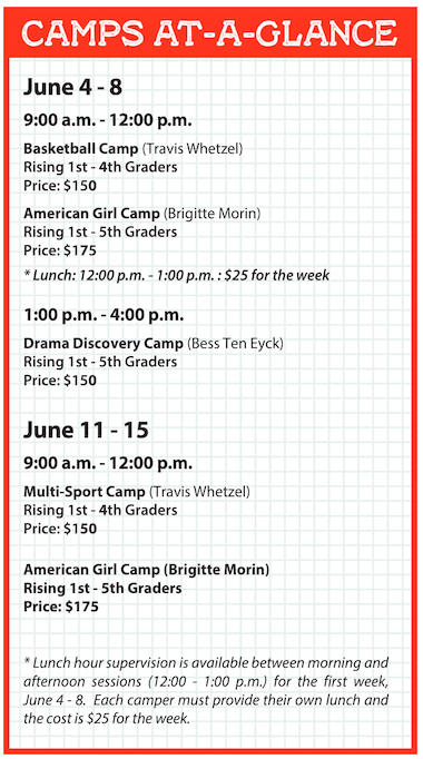 2018 Summer Camp at a glance